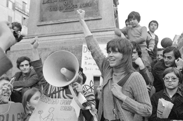 Fonda participates in a demonstration in Rome on March 8, 1972.