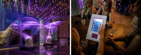 Left: Robotic arms prepare cocktails. Right: A party places their drink orders through an app.