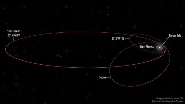 """The orbits of the new extreme dwarf planet 2015 TG387 and its fellow inner Oort Cloud objects 2012 VP113 and Sedna as compared with the rest of the Solar System. 2015 TG387 was nicknamed ͞""""The Goblin"""" by its discoverers, as its provisional designation contains TG and the object was first seen near Halloween."""