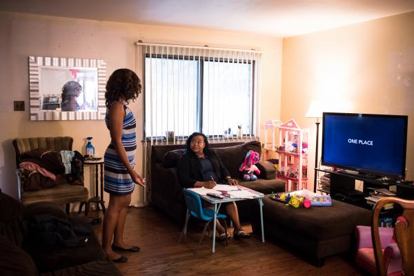 Ruth Palacio (right), 63, and daughter Shantel Palacio, 33, at home in Brownsville. Both women pursued careers in education: Ruth is a bilingual child psychologist. Shantel is pursuing a Ph.D. in education policy.