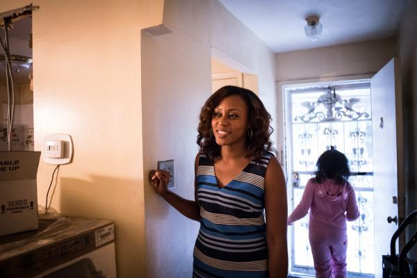 Shantel Palacio and Maliah Jones, 7, at the Palacio home. The Palacios passed their Nehemiah home on to Shantel. She works for the New York City Department of Education, and writes a blog advocating for Brownsville citizens.