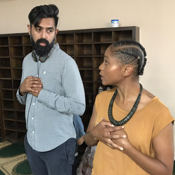 Sameer Gardezi, creator of <em>East of La Brea</em>, shows actor Geffri Maya, playing Aisha Hassan, where to hold her hands in prayer.