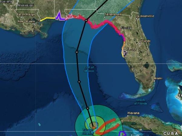 A hurricane warning has been issued for the Gulf Coast of Florida from the Alabama/Florida border eastward to the Suwannee River. The strengthening storm is expected to head north across the Gulf of Mexico before making landfall on Wednesday.