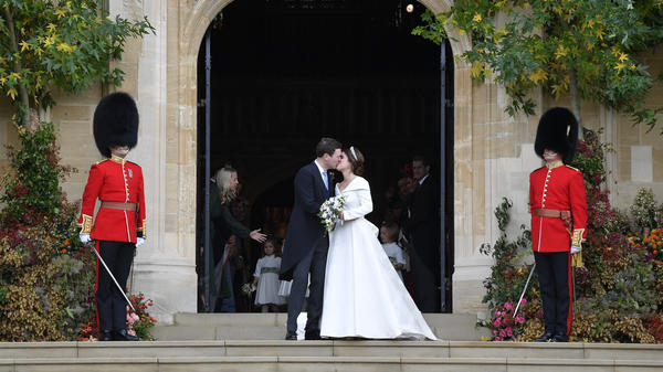 The royal wedding between Eugenie and Brooksbank was simultaneously a smaller-scale yet still-high-wattage affair compared with her cousin Prince Harry's nuptials in May.