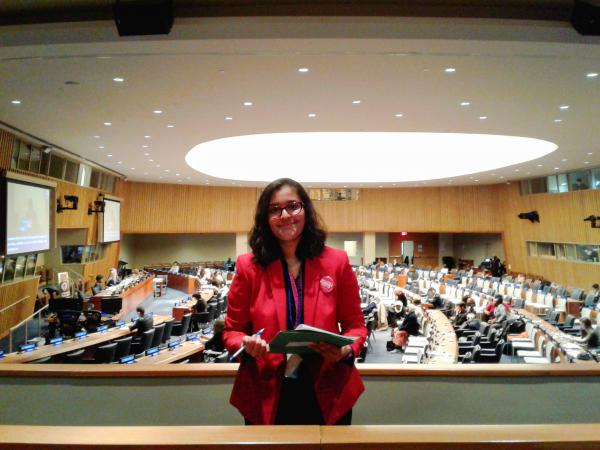 Sakshi Satpathy at the U.N.'s headquarters in March. On Thursday, she received an award from the Girl Scouts at the U.N. for her work to fight child marriage and human trafficking.
