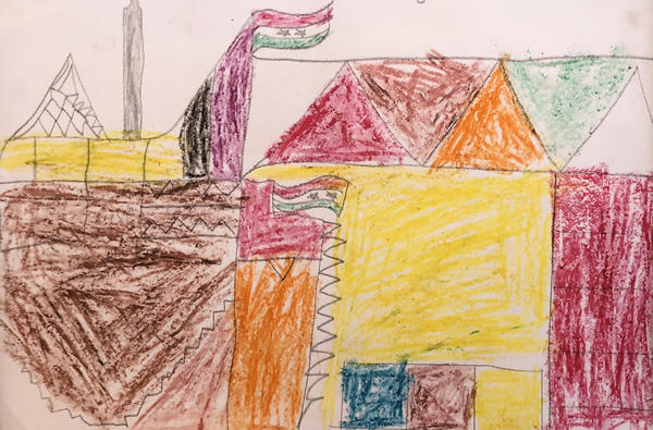 A drawing by the same child whose home in Raqqa was destroyed by ISIS depicts the family's rebuilt house.