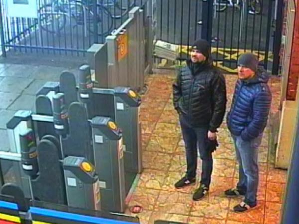 This still taken from CCTV and issued by the Metropolitan Police in London on Sept. 5 shows two suspects in the Skripal poisoning at the Salisbury train station in England on March 3.