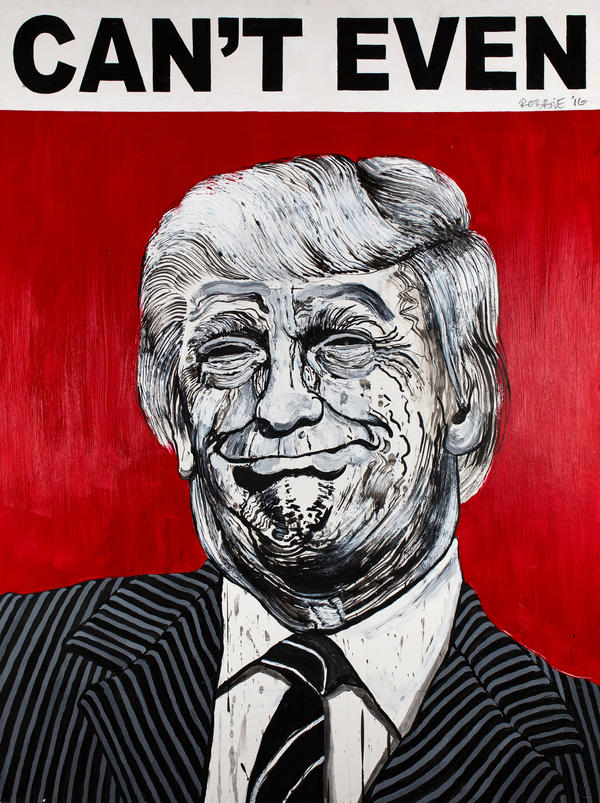 """I paint them exactly the way these people look on the inside,"" street artist Robbie Conal says about his latest subjects — President Trump and his inner circle."