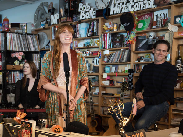 Florence + The Machine performs a Tiny Desk Concert on Oct. 6, 2018 (Heather Kim/NPR).