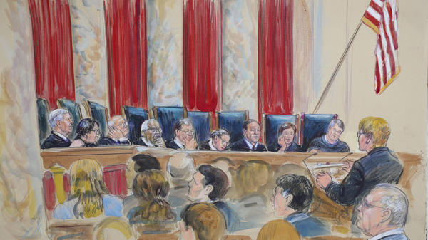 A courtroom sketch shows the Supreme Court hearing oral arguments on Oct. 9.