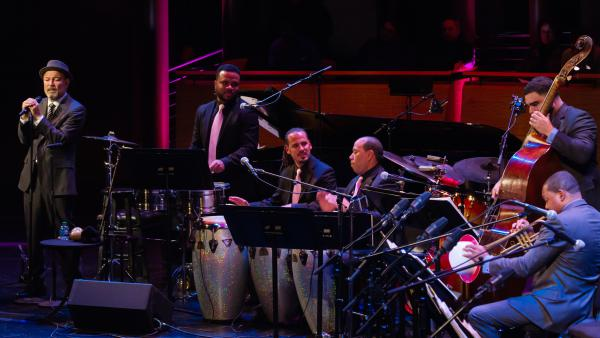 Rubén Blades performs with bassist Carlos Henriquez and trumpeter Wynton Marsalis.