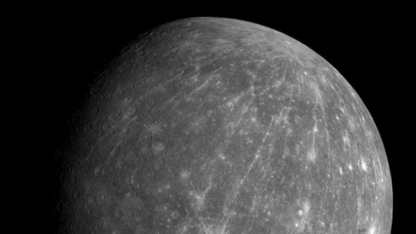 This October 2008 photo shows Mercury during the Messenger spacecraft's second flyby of the planet. The European Space Agency's BepiColombo will take seven years to reach the innermost planet in our solar system.