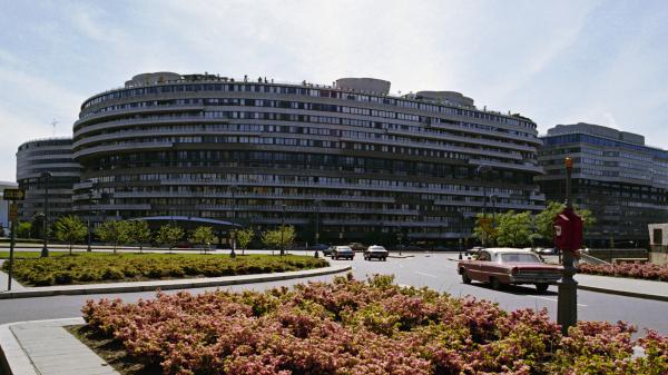 It all began when five men were arrested after breaking into the headquarters of the Democratic National Committee, an office inside the Watergate hotel complex, seen here in 1973.