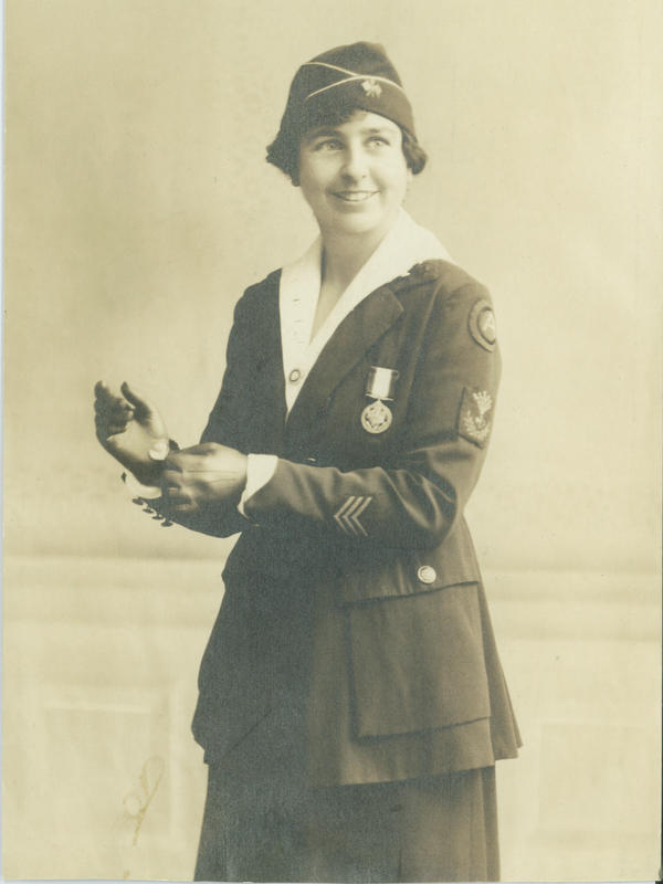 Grace Banker in her military uniform with Distinguished Service Medal. According to her grandchildren, the photo was likely taken in a studio in the U.S. after she returned from World War I in France.