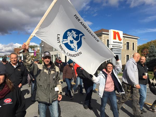 Several hundred Quebec farmers and their supporters took to the streets of Granby, Quebec last week to protest a new trade deal between the U.S., Canada and Mexico.