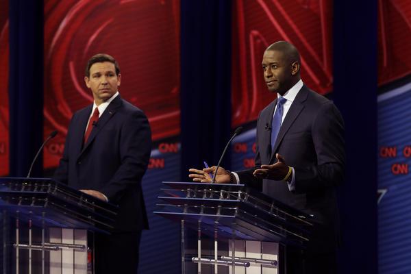 Republican gubernatorial candidate Ron DeSantis (left) and Democratic gubernatorial candidate Andrew Gillum (right) during a CNN debate Sunday.