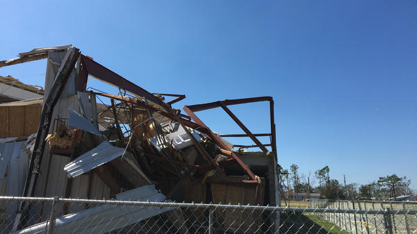 A building next door to the Bay County elections building sits demolished.