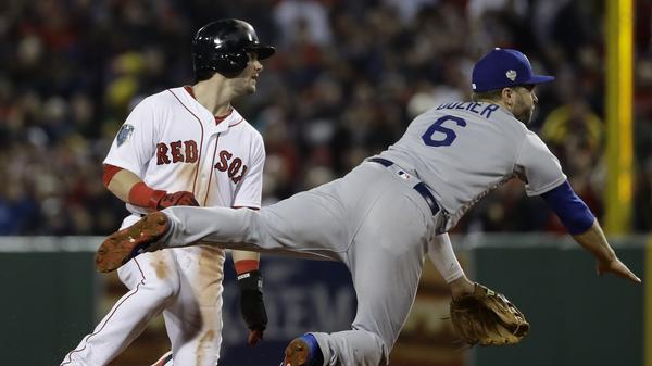 A hard slide by Boston's Andrew Benintendi into LA's Danny Lehmann successfully broke up a double play during the third inning. Boston's Steve Pearce, who stayed on first after an official review, scored on a hard double by J.D. Martinez.