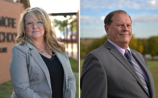 Republican Sherrie Conley (left) and Democrat Steve Jarman are competing to represent the same district in Oklahoma's House of Representatives. Both have more than a decade of teaching experience.
