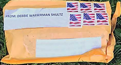 Exterior of one of the suspicious packages. The FBI obscured the addresses to protect privacy.