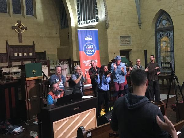 Doug Pagitt, a pastor from Minneapolis, and his crew hold a meeting aimed at evangelical Christians, in a church in San Antonio. They are touring the country to talk to evangelicals about the midterm elections.