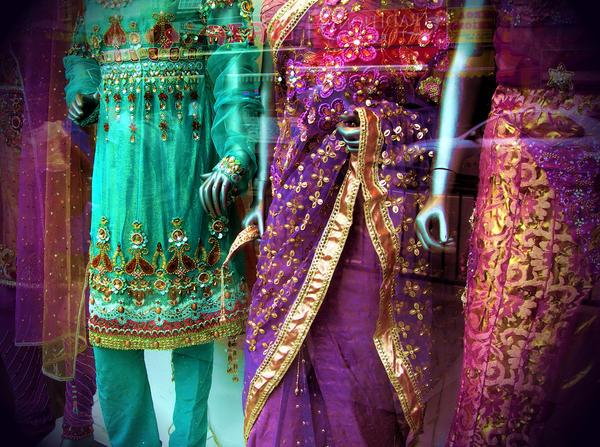 Saris in a shop window in London.
