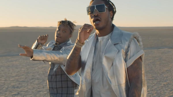 Future (right) and Juice WRLD blur the lines between celebration and social critique in three videos.