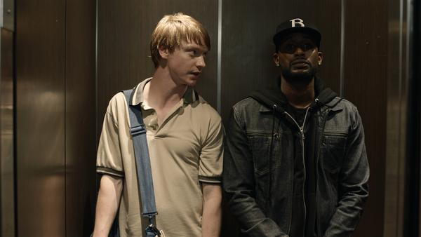 Adam (Calum Worthy) and his rap battle mentor Behn Grymm (Jackie Long) in <em>Bodied</em>.