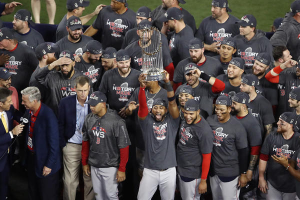 The Boston Red Sox celebrate their 5-1 victory over the Los Angeles Dodgers in Game 5 to win the 2018 World Series at Dodger Stadium on Sunday night.