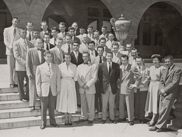 O'Connor (first row, second from left) and Rehnquist (back row, furthest left) pose for a class photo for the Stanford Law Review's board of editors (1950-51).