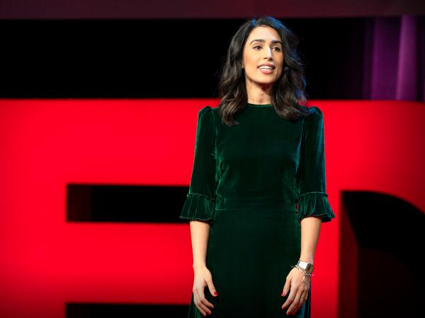 Yasmin Green on the TED stage.