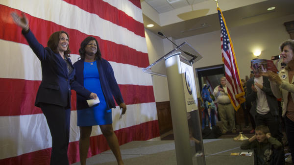 Democratic Sen. Kamala Harris in Iowa supporting the campaign of Deidre DeJear, candidate for state secretary of state.