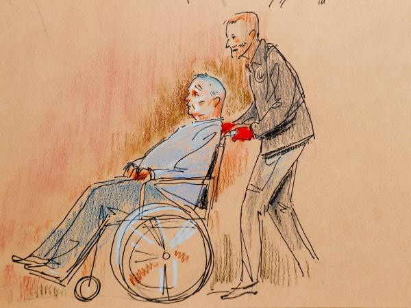 This courtroom sketch depicts Bowers, who was wounded in a gunbattle with police, as he appeared in a wheelchair at federal court on Monday. On Thursday, he walked into the courtroom to plead not guilty in the Pittsburgh synagogue attack.