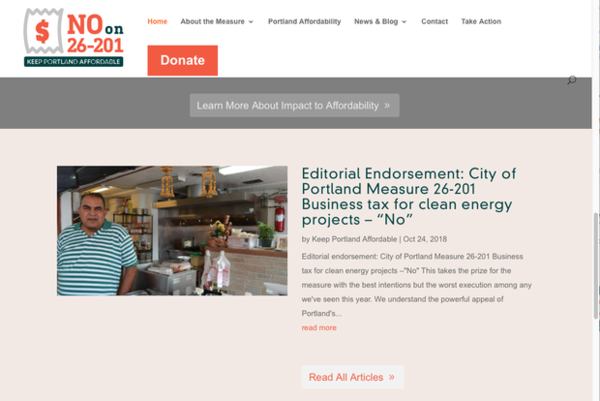 <p>A screenshot of Hari Lal, owner of Spice Kitchen, on the Keep Portland Affordable PAC website.</p>