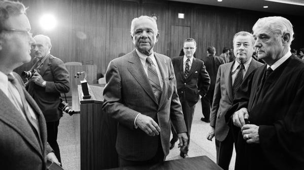 "Watergate special prosecutor Leon Jaworski at his swearing-in on Nov. 5, 1973. A long-sealed ""road map"" prepared by Jaworski's office has now become public."