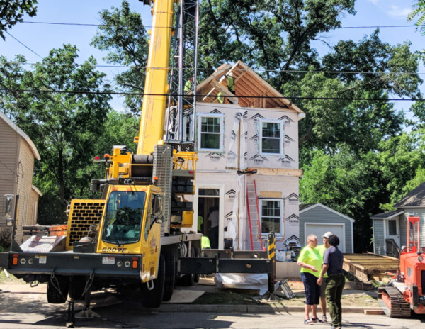 An example of the modular homes being installed on land bank property in Grand Rapids.