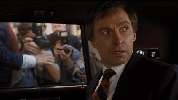 Hugh Jackman, and wig, play Gary Hart in Jason Reitman's <em>The Front Runner.</em>
