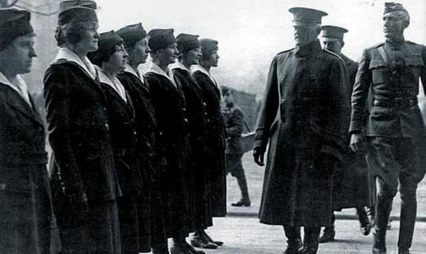 Gen. John Pershing reviews the Hello Girls in France. Pershing needed skilled telephone operators and called for the Army to recruit the women despite strong objections from within the military.
