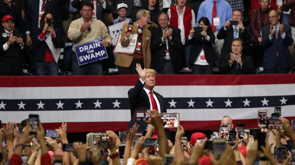 President Trump acknowledges supporters during a campaign rally for Rep. Marsha Blackburn, R-Tenn., and other Tennessee Republican candidates on Monday in Chattanooga, Tenn.