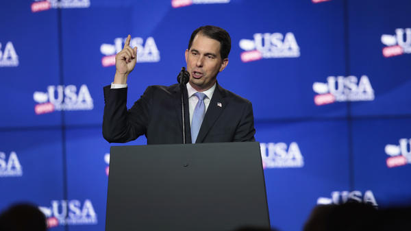 Gov. Scott Walker, R-Wis., speaks at a groundbreaking ceremony for the Foxconn factory complex on June 28 in Mount Pleasant, Wis.