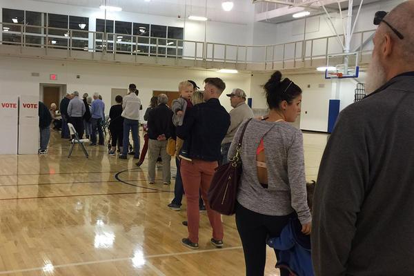 Voters wait in line at Saint Elijah Antiochian Orthodox Christian Church in north Oklahoma City.