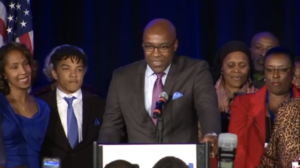 Kwame Raoul in his victory speech after winning the race for attorney general on Tuesday, November 6, 2018.