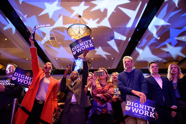 Supporters of Democratic Sen. Sherrod Brown celebrate his campaign victory in Columbus, Ohio, on Tuesday night. Brown defeated Republican challenger Jim Renacci to win a third term in the Senate.