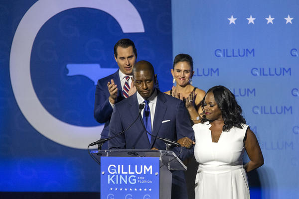 Democratic gubernatorial candidate Andrew Gillum gives his concession speech in Tallahassee, Fla., on Tuesday. Gillum fell short in his bid against Republican Ron DeSantis.