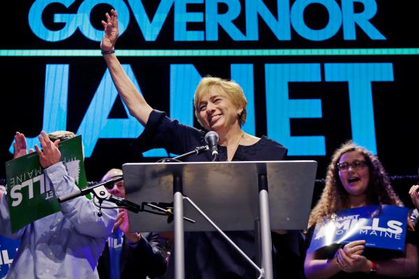 Maine gubernatorial candidate, Democrat Janet Mills celebrates her victory Tuesday in Portland, Maine.