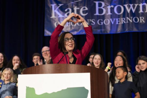 <p>Gov. Kate Brown celebrates her Election Night victory at the Democratic Party of Oregon 2018 election party on Nov. 6, 2018 in Portland, Oregon.</p>