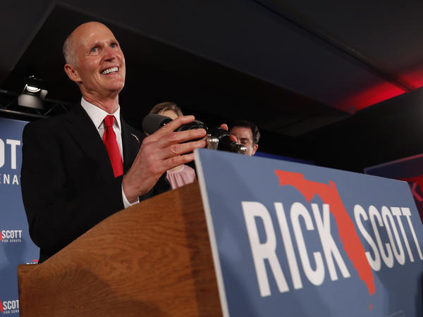 Republican Senate candidate Rick Scott has declared victory in Florida, but the Democratic incumbent, Bill Nelson, is calling for a recount.