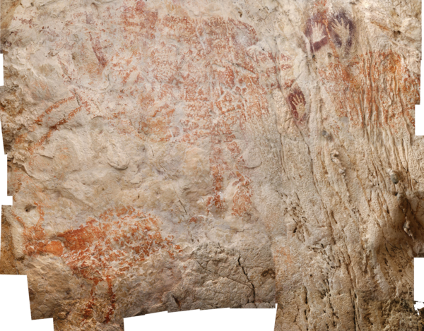 The oldest figurative painting, found in caves at the far eastern edge of the island of Borneo, depicts a wild cow with horns and dates to at least 40,000 years ago — thousands of years older than figurative paintings found in Europe.