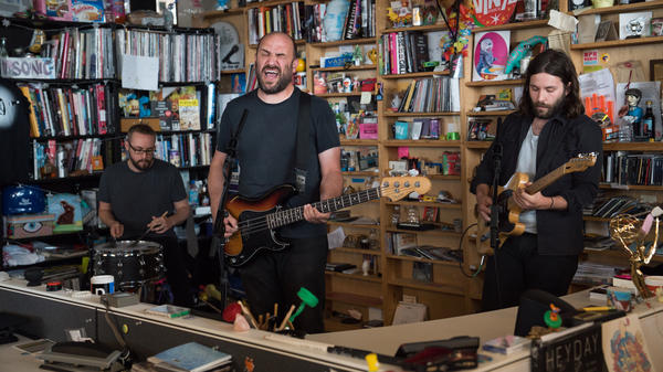 Pedro the Lion performs a Tiny Desk Concert on Sept. 13, 2018 (Claire harbage/NPR).