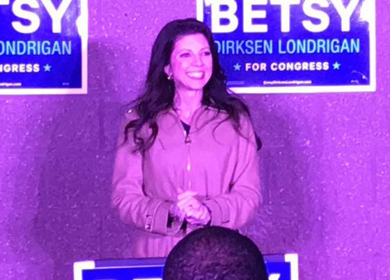 Democrat Betsy Dirksen Londrigan speaking to her supporters Tuesday night in Springfield.